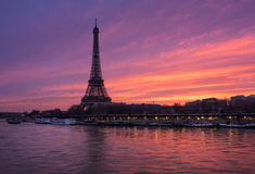 Fiery sunrise on the Eiffel Tower and Seine River, Paris Royalty Free Stock Photo