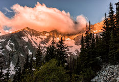 Fiery sunrise over Blanca Peak.  Colorado Rocky Mountains, Sangre de Cristo Range. Epic fiery sunrise over Blanca Peak in the Colorado Rockies Stock Photography