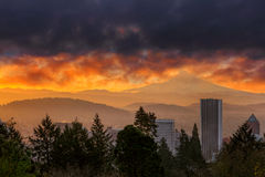 Fiery sunrise over City of Portland and Mt Hood in Oregon stock image