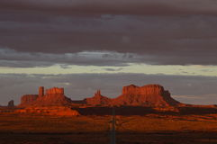 Fiery Sunrise over Monument Valley Royalty Free Stock Images
