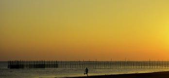 Fiery Sunset Beach Royalty Free Stock Photos