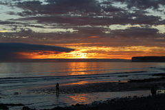 Fiery Sunset. Sunset @ Birling Gap, Nr Eastbourne, East Sussex stock photos