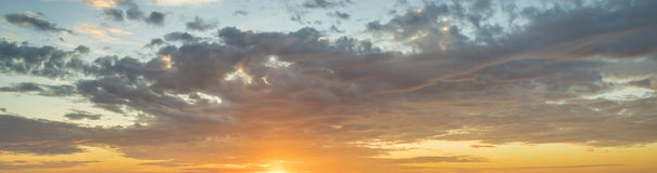 Fiery sunset, colorful clouds in the sky,only sky Stock Photography