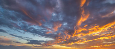 Fiery sunset, colorful clouds in the sky,only sky Stock Photo