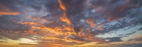 Fiery sunset, colorful clouds in the sky,only sky Stock Images