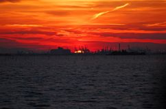 Fiery sunset in the lagoon of Venice, Italy Royalty Free Stock Image