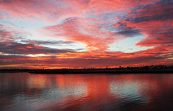 Fiery Sunset Mission Bay San Diego California Stock Images
