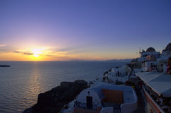 Legendary Santorini sunset Greece Stock Images