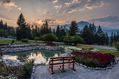A fiery sunset over Banff royalty free stock image