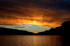 Fiery Sunset Over Lake Powell. A beautiful sunset captured over Lake Powell, Utah Royalty Free Stock Photography