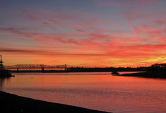 Fiery Sunset Over the Mississippi River in Memphis, Tennessee. The sky blazes red one fall evening astride the Mississippi River in Memphis, Tennessee Royalty Free Stock Image