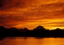 Fiery Sunset Over Teton Royalty Free Stock Photos