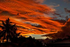 Fiery sunset. In Philippines Naga city stock photo