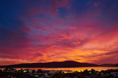 Fiery sunset. In Porto Montenegro from the hill stock image