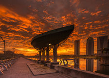 Fiery Sunset at Putrajaya Dam.  royalty free stock photography
