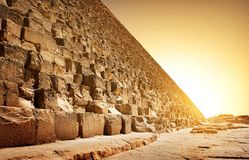 Fiery sunset and pyramid Stock Photography
