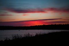 Fiery sunset. Russia, Karelia, Solovetsky Islands, The White Sea Stock Photography