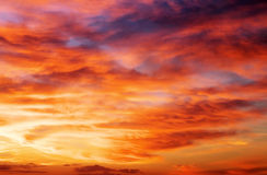 Fiery sunset sky. Royalty Free Stock Photos