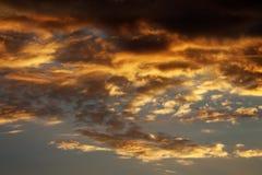 Fiery sunset sky on summer sea Royalty Free Stock Photo