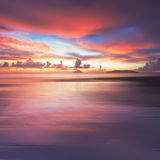 Fiery Sunset at Tanjung Aru beach, Borneo Royalty Free Stock Images