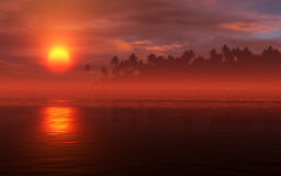 Fiery Sunset Tropic Scenery Stock Images