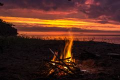 Fiery sunsets on the shore of the Gulf Stock Images