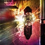 Supernatural light through antique glass doorknob stock photography