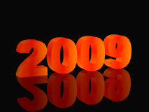 Fiery symbol newyear. High resolution image new-year. 3d illustration. Fiery text. Mirror reflection Stock Illustration