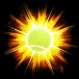 Fiery Tennis Ball Stock Photography