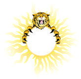 Fiery  tiger. Decorative element may be frame and background. Additional format EPS8 Stock Photos