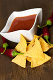 Fiery tortilla chips Stock Images