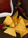 Fiery tortilla chips Stock Photo