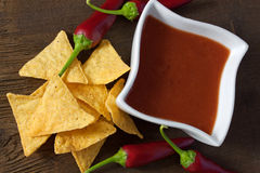 Fiery tortilla chips Royalty Free Stock Images