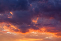 Fiery vivid sunset sky clouds Royalty Free Stock Photo