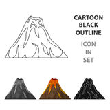 A fiery volcano.A mountain in which there is a volcanic eruption.Different mountains single icon in cartoon style vector Stock Images