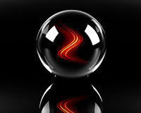 Fiery waves in the glass sphere. On the black background Royalty Free Stock Images