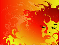 Fiery woman background. Illustration of a woman with her hair turning to fire Royalty Free Stock Images