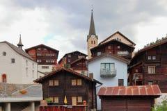 FIESCH, CANTON OF VALAIS, SWITZERLAND - OCTOBER 10, 2018: View of Fiesch village, UNESCO World Heritage site. royalty free stock photos
