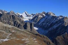 Fiescher glacier, view from mount Eggishorn, Switzerland. Mountain landscape and glacier in Valais Canton, Swiss Alps stock image