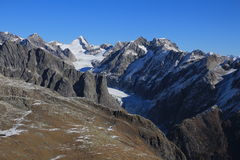Fiescherhorn and Fiescher Glacier Royalty Free Stock Images
