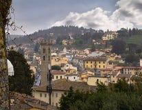 Fiesole Italien siktsfrome över arkivfoto