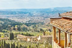 Fiesole, Tuscany, Italy. Scenic Skyline View of Florence. Tuscany, Italy Royalty Free Stock Photography