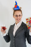 Fiesta. Young woman celebrating in office Stock Image