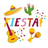 Fiesta banner lettering design. Fiesta hand drawn lettering design vector illustration perfect for advertising, poster, announcement, invitation, party, greeting Stock Photography