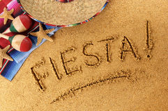 Mexico fiesta summer beach writing, sombrero Royalty Free Stock Images