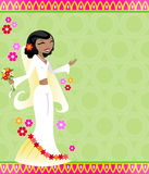 Fiesta Bride. Festive bride on a colorful patterned background, surrounded by beautiful flowers vector illustration