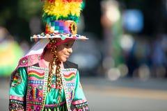 The Fiesta DC Parade. Washington, D.C., USA - September 29, 2018: The Fiesta DC Parade, bolivian woman wearing traditional clothing walking down the street stock photos