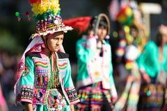 The Fiesta DC Parade. Washington, D.C., USA - September 29, 2018: The Fiesta DC Parade, bolivian woman wearing traditional clothing walking down the street stock photo