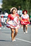 The Fiesta DC Parade. Washington, D.C., USA - September 29, 2018: The Fiesta DC Parade, Bolivian women wearing traditional clothing performing a traditional stock images