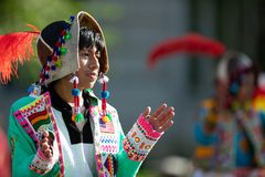 The Fiesta DC Parade. Washington, D.C., USA - September 29, 2018: The Fiesta DC Parade, young man from bolivia wearing traditional clothing walking down the royalty free stock photos